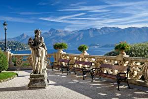 Picture Italy Mountains Lake Sculptures Alps Lantern Lago di Como Nature