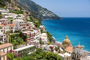 Hintergrundbilder Italien Meer Küste Gebäude Positano, Campania, Salerno Städte