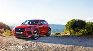 Hintergrundbilder Jaguar Rot Metallisch E-Pace, R-Dynamic, First Edition, 2017 auto
