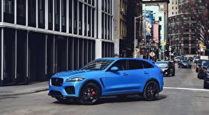 Picture Jaguar Street Blue Side Crossover F-Pace, SVR, US-spec, 2018 Cars