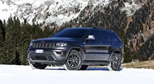 Bakgrunnsbilder Jeep Snø Svart SUV Metallisk Grand Cherokee, Trailhawk, EU-spec, 2017 automobil