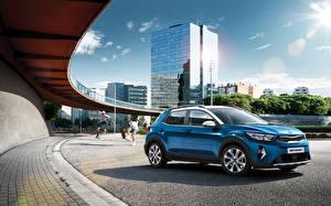 Bureaubladachtergronden KIA Blauw kleur Metallic Cross-over auto Stonic EcoDynamics, 2020 automobiel