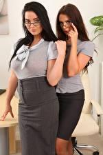 Pictures Kay Only Saffron only 2 Secretaries Brunette girl Brown haired Staring Eyeglasses Hands Skirt
