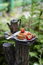 Photo Kettle Pie Strawberry Bokeh Food