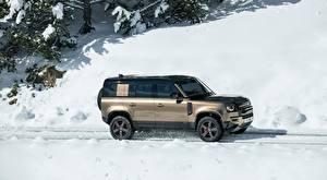 Hintergrundbilder Land Rover Schnee Seitlich Sport Utility Vehicle Defender 110, P400 X, 2020 Autos