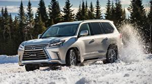 Images Lexus Snow Sport utility vehicle Silver color Motion LX 570, CA-spec, 2016