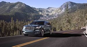 Picture Lincoln Mountain Forest Roads Sport utility vehicle Moving Black Metallic Aviator, Black Label, 2019 automobile