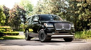Bakgrunnsbilder Lincoln SUV Svart Metallisk Forfra Navigator, L Black Label, 2017 Biler