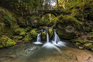 Image Luxembourg Forests Stone Waterfalls Bridges Moss Arch Trees Stream  Nature