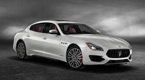 Hintergrundbilder Maserati Weiß Metallisch Limousine Quattroporte, GTS, GranSport, US-spec, 2018 auto
