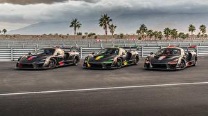 壁纸、マクラーレン、チューニングカー、三 3、黑、メタリック塗、2018-20 Senna、自動車、