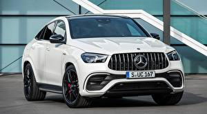 Sfondi desktop Mercedes-Benz Bianco Davanti Coupé Metallizzato AMG, GLE 63 S 4MATIC