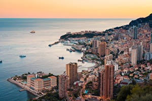 Images Monte Carlo Monaco Houses Coast Ships From above Horizon Cities
