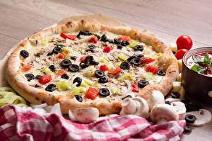 Pictures Mushrooms Pizza Tomatoes Olive Fast food Food
