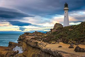 Fotos Neuseeland Küste Stein Leuchtturm Felsen Castlepoint Lighthouse