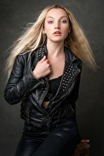 Wallpaper Blonde girl Jacket Glance Leather Olivia