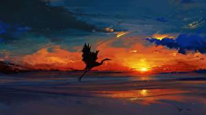 壁纸、描かれた壁紙、コウノトリ、朝焼けと日没、鳥類、自然、