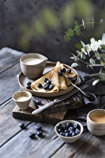 Photo Pancake Blueberries Coffee Cappuccino Milk Knife Boards