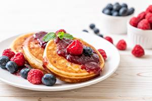 Picture Pancake Jam Raspberry Blueberries Food