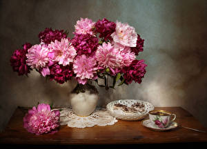 Images Paeony Tea Little cakes Vase Cup Flowers