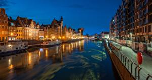 Desktop wallpapers Poland Riverboat Gdańsk Night Street lights Canal  Cities