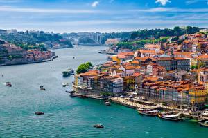Bilder Porto Lissabon Fluss Bootssteg Binnenschiff Gebäude Douro river Städte