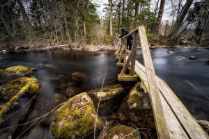 Desktop wallpapers Rivers Stones Bridges Man Moss Wooden Nature