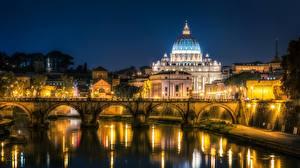Photo Rome Italy River Bridges Church Night Tiber river Cities