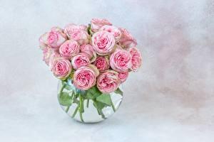 Обои Розы Букеты Ваза Розовый Цветы картинки
