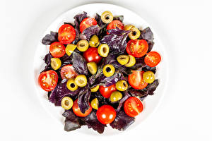 Wallpapers Salads Vegetables Tomatoes Olive White background Food pictures images