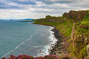 Hintergrundbilder Schottland Küste Steine Felsen Isle of Skye