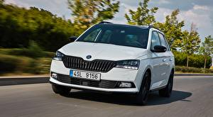 Pictures Skoda White Front Metallic Driving Hatchback, Fabia Combi, Monte Carlo, 2018 Cars