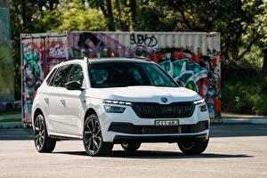 壁紙,斯柯達,跨界休旅車,白色,金屬漆,Kamiq Monte Carlo AU-spec, 2020,汽车,