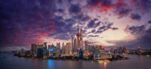 Photo Skyscrapers River China Shanghai Evening Sky Megapolis Clouds Huangpu River Cities