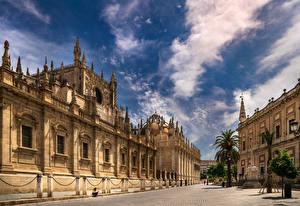 Hintergrundbilder Spanien Kathedrale Himmel Wolke Stadtstraße Seville, Puerta De San Cristobal, Archivo de Indias
