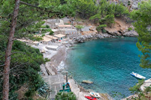 Fotos Spanien Mallorca Küste Bootssteg Steine Boot Gebäude Escorca Natur