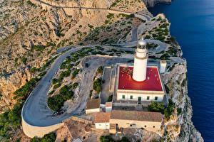 Hintergrundbilder Spanien Mallorca Leuchtturm Straße Felsen Von oben Natur