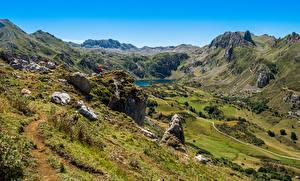 Pictures Spain Mountain Lake Stone Valley Somiedo