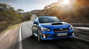 Bilder Subaru Unscharfer Hintergrund Vorne Blau Bewegung Limousine Metallisch Impreza, WRX STI, 2017 Autos