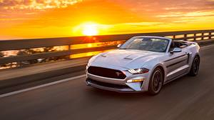 Photo Sunrises and sunsets Ford Silver color Driving Cabriolet Mustang GT, California Special, 2019 Cars