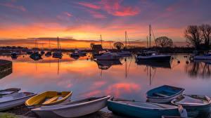 Bilder Sonnenaufgänge und Sonnenuntergänge Fluss Boot England River Avon, Dorset County