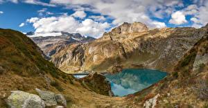 Fotos Schweiz Berg See Stein Alpen Wolke Felsen  Natur