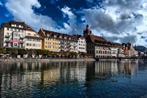 Bilder Schweiz Fluss Gebäude Lucerne, Reuss River Städte