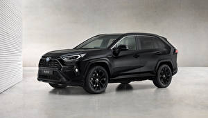 Hintergrundbilder Toyota Schwarz Metallisch RAV4 Hybrid, Black Edition, 2020 auto