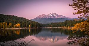 Wallpapers USA Autumn Lake Mountains Forest California Lake Siskiyou, Mount Shasta, Cascade Range Nature