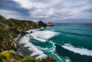 Wallpapers USA Coast Ocean California Crag Nature pictures images