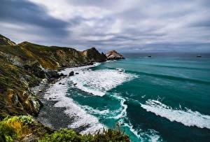 Desktop hintergrundbilder USA Küste Ozean Kalifornien Felsen Natur