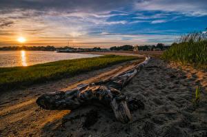 壁纸、アメリカ合衆国、海岸、朝焼けと日没、砂、太陽、Clinton Town Beach Connecticut、自然、