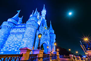 Picture USA Disneyland Parks Castles California Anaheim Night Street lights