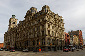 壁纸、アメリカ合衆国、住宅、銀行、ストリート、Milwaukee, Mitchell Building、都市、
